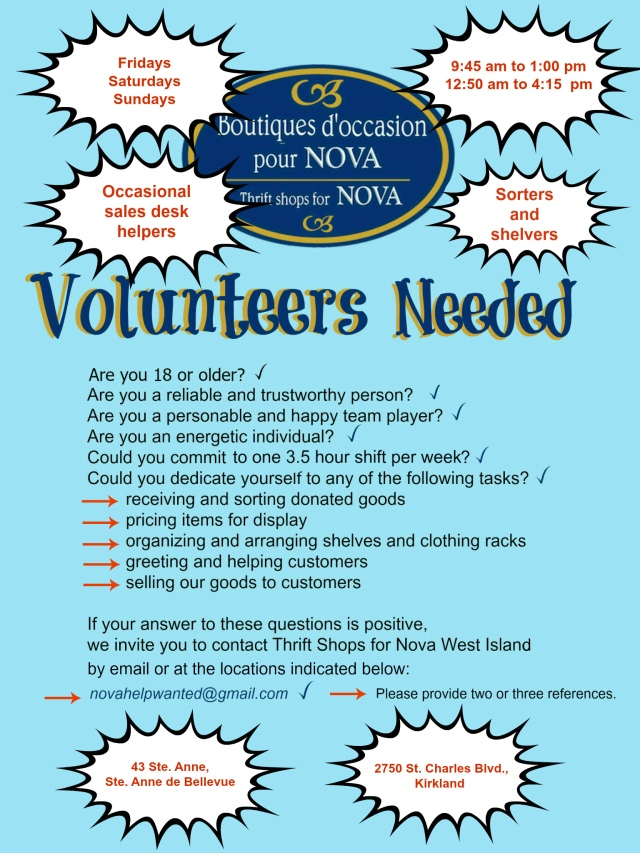 Volunteers wanted April 2017